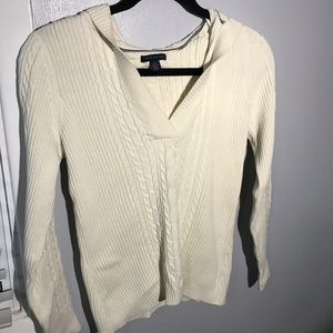 Tommy Hilfiger White Cable-knit V-Neck Sweater
